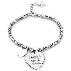 Idea Regalo - Beloved Braccialetto da donna, bracciale in acciaio emozionale - frasi, pensieri, parole con charms - ciondolo pendente - misura regolabile - incisione - argento (MOD 1)
