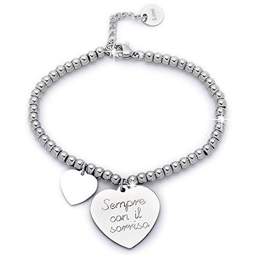 Beloved Braccialetto da donna, bracciale in acciaio emozionale - frasi, pensieri, parole con charms - ciondolo pendente - misura regolabile - incisione - argento (MOD 1)