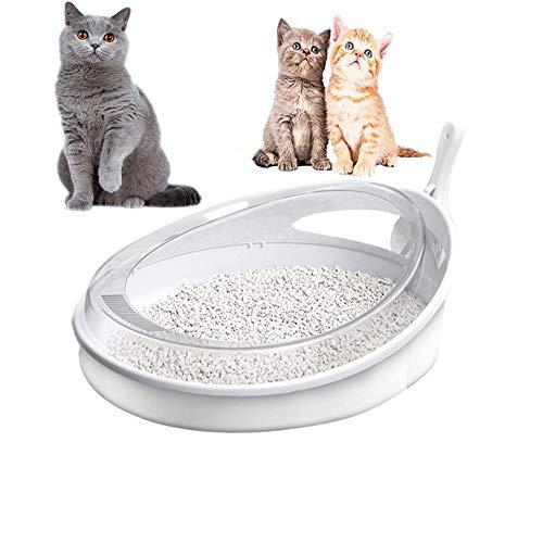 BCCDP Katzentoilette mit Rand Schalentoilette Toilette for Ihre Katze Catit Katzentoilette mit Abdeckung Robuste Katzentoilette mit Streuschaufel und Hygiene-Behälter