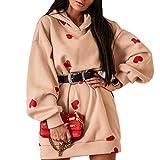 Felpa per Donna Lunga Larga con Cappuccio Vestito Hoodie a Maniche Lunghe Stampato di Cuori Casual Moda per Primavera/Autunno (Cuorini-Beige, XL)