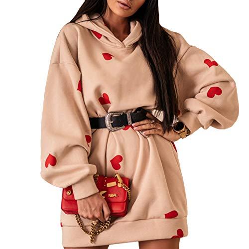 Sudadera para mujer larga con capucha vestido Hoodie de manga larga estampado de corazones casual moda para primavera/otoño Cuorini-beige M