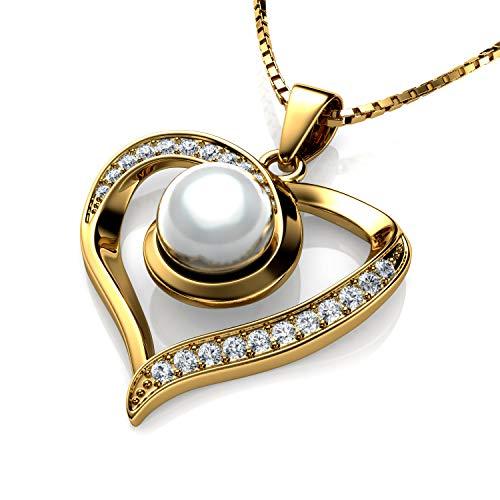 DEPHINI – Collana con perle in oro 18 carati da donna, ciondolo a forma di cuore giallo, cristalli CZ, gioielli raffinati