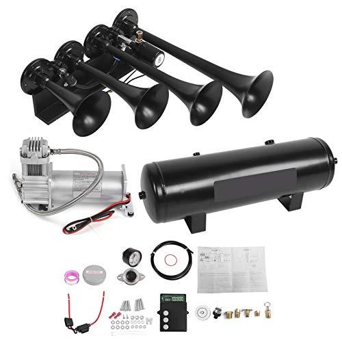 Yctze - Kit de bocina de aire de 4 trompetas, acero inoxidable 200PSI 12V Sistema de bocina de aire apto para todos los vehículos con 12V
