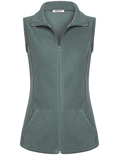 SeSe Code Colete feminino casual de lã leve com zíper frontal com bolsos, Verde, X-Large