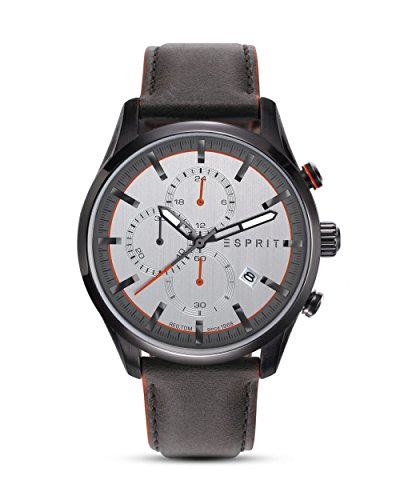 ESPRIT Herren Chronograph Quarz Uhr mit Leder Armband ES108391007