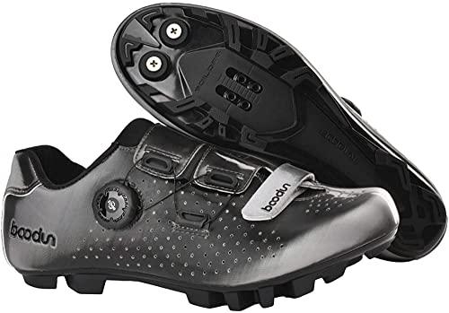 KUXUAN Zapatillas de Ciclismo Zapatillas de Ciclismo MTB para Mujer para Hombre Zapatillas de Pelotón Ligeras y Transpirables,Grey-45EU