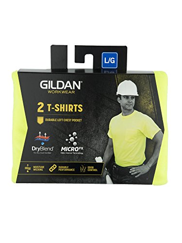 GILDAN Men's DryBlend Workwear T-Shirts with Pocket, 2-Pack, Safety Green, Large