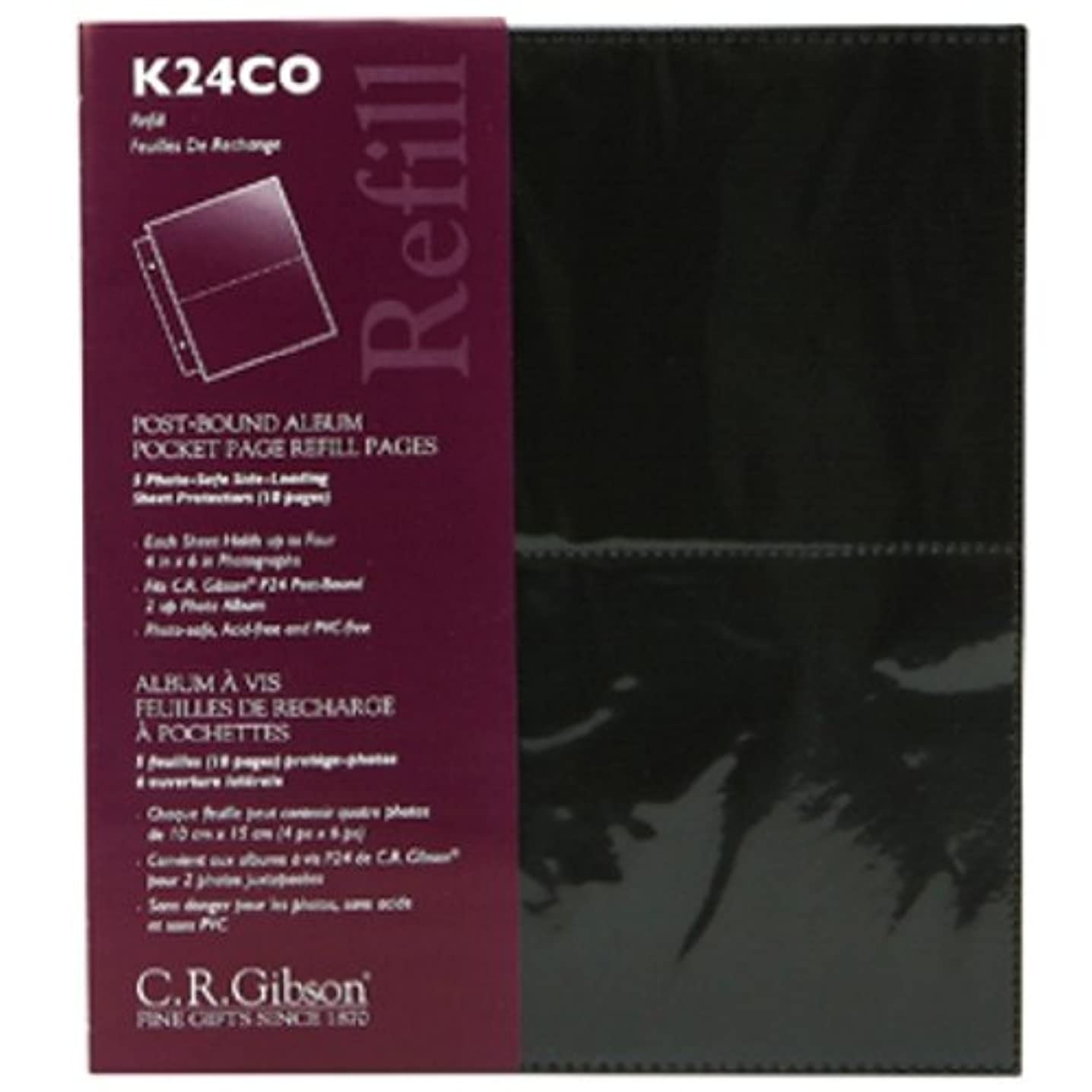 C.R. Gibson Album Pocket Page Refill, 5 Count, Black