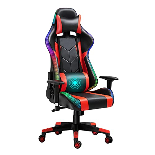 Gaming Chair for Adults with LED/RGB Light,180° Reclining,PU Leather High Back Office PC Computer Chairs with Massage Waist Pillow and Headrest, Adjustable Armrest,Ergonomic Design (Black-Red)