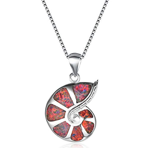 YAZILIND Platinum Plated Opal Snail Pendant Necklace Women Birthday Jewellery Gift(Red)