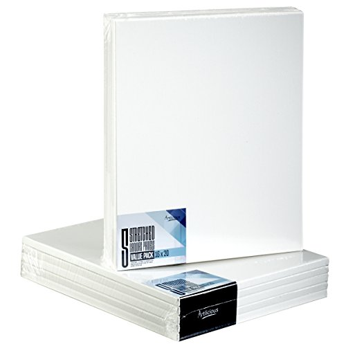 Artlicious - Super Value 5 Pack - 16x20 Pre-Stretched Cotton Canvas Panel Boards - Use with All Acrylics, Oils and Other Painting Media