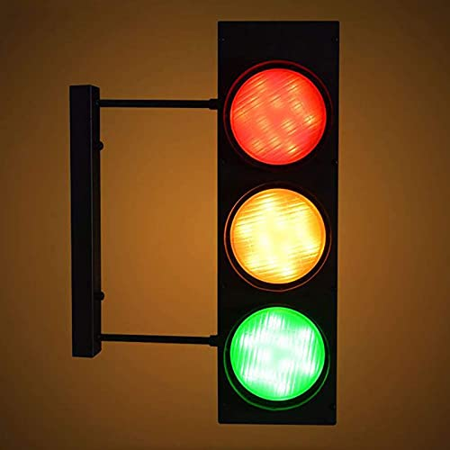 QDF LED Dimmable Traffic Light with Remote Control, Retro Industrial Wall Lamp, Industrial Wall Lamp for Garage Home Themed Parties, Restaurant, Cafe, Bar Decoration