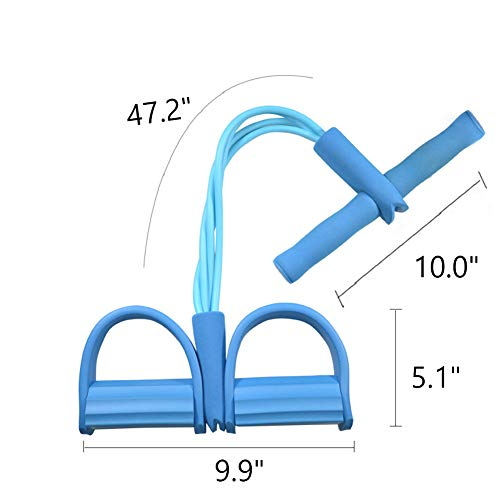 ShineBlue Pedal Resistance Band, 4-Tube Natural Latex Sit-up Bodybuilding Auxiliary Equipment, Elastic Pull Rope with Foot Pedal Fitness Equipment for Abdomen, Leg, Arm Stretching Training (Blue)