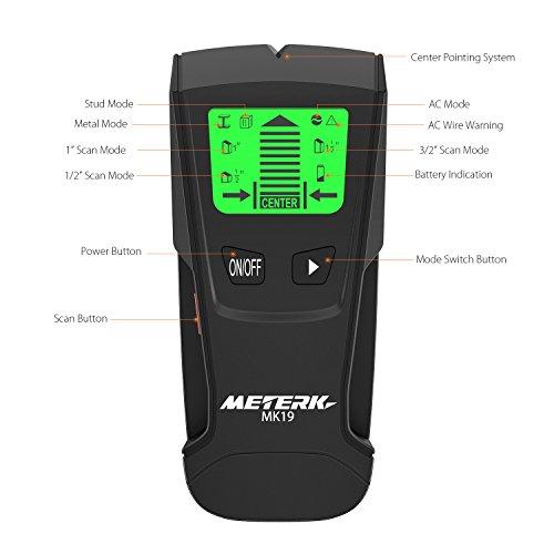 Détecteur de Mur, Meterk Scanner Mural Stud Finder avec 3 Modes Détecteur Multi-parois, pour le Métal, AC Live Fil, Détecteur de Bois avec Détection D'alarme avec Grand Écran LCD