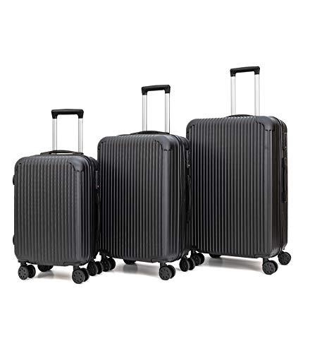 T-Lovendo LS248 Juego De 3 Maletas De Viaje Set Trolley Abs Semirigidas Candado 4 Ruedas, Negro, 72 X 48 X 30 Cm, Piezas