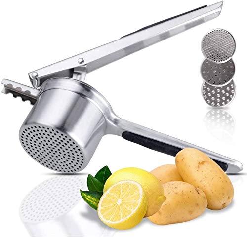 Korins Schiacciapatate, Potato Ricer in Acciaio Inox - con 3 Dischi Intercambiabili Pressa per Purè di Patate Liscie, Marmellata, Verdure e Frutta