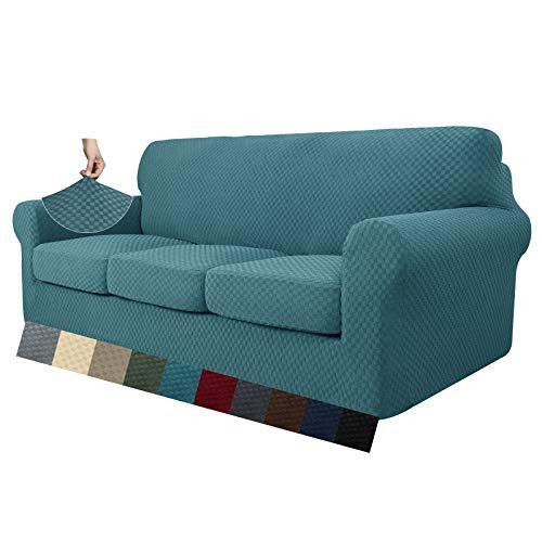 MAXIJIN 4 piezas más nuevas fundas de sofá jacquard para 3 plazas super elásticas antideslizantes para perros mascotas Protector de muebles de sofá fundas elásticas (3 plazas, azul pavo real)
