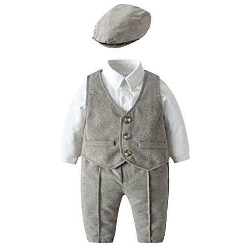 Famuka Baby Jungen Anzug Hochzeit Partei Taufe Fotoshooting Babykleidung Set (Braun, 59)