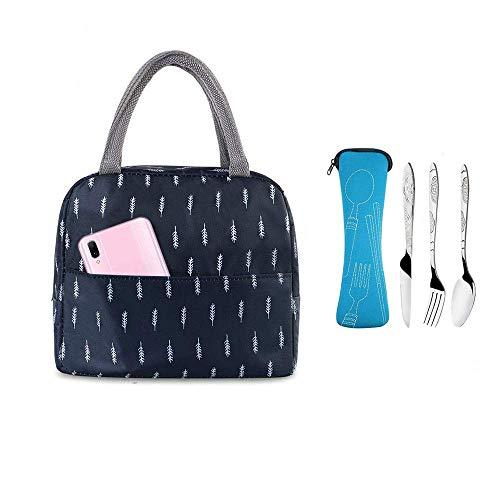 Bolsa de almuerzo y 3 piezas de cubiertos de acero inoxidable (cuchillo, tenedor, cuchara) con bolsa de almacenamiento, bolsa de almuerzo aislada