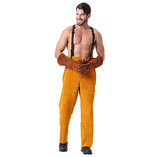 Pantalon de soudage en cuir Flamme Chaleur Résistant à la peau de vache Travailleur Britches Romper Soudure Protection Chaps Pantalon (XL)