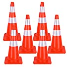 Safety Traffic Cones PVC Safety Road Parking Cones with Reflective Collars Orange Construction Cones for Home Road Parking Practise Emergency Use (28 Inch 6 Packs)