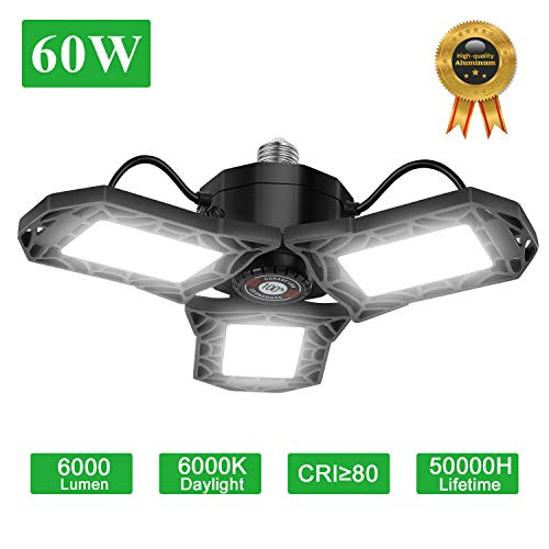 LED Garage Lights, 60W 6000LM Oeegoo Deformable Trilights, 6500K Ceiling Light Adjustable Multi-Position Panels Energy Saving Triple Glow Light for Supermarket, Factory, Warehouse, Office, etc