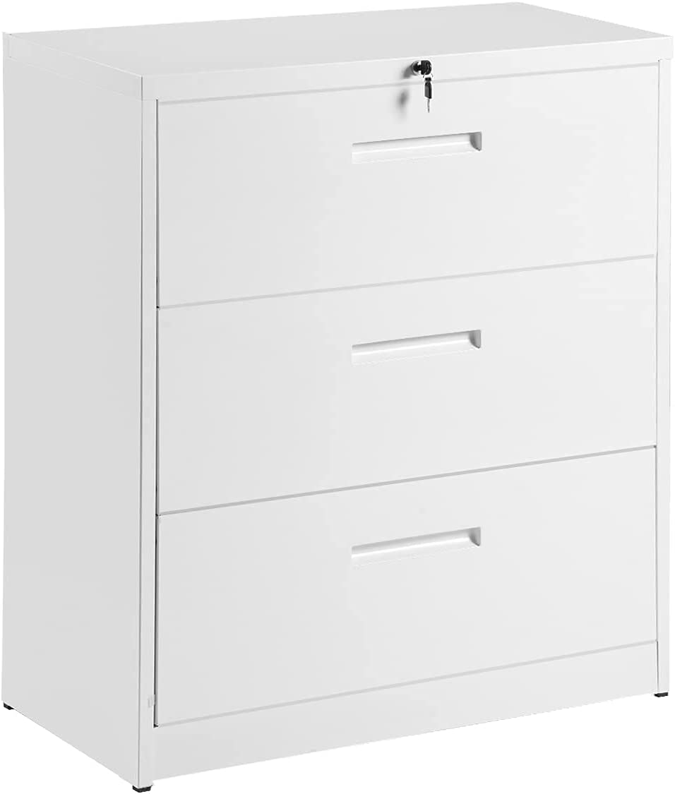 Evazory Fashionable Lateral File Cabinet 3-Drawer Locking Heavy-Duty Metal F Excellent