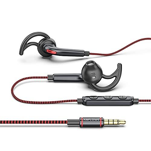 Anflowe ES850 - Cuffie auricolari sport in-ear con cavo e microfono, auricolari stereo sportive con filo per running correre corsa, cuffie bassi potenti con jack 3,5 mm per mp3, cellulare, smartphone