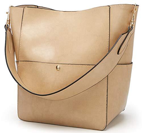 Molodo Women's Satchel Hobo Top Handle Tote Shoulder Purse Soft Leather Crossbody Designer Handbag Big Capacity Bucket Bags (Nude)