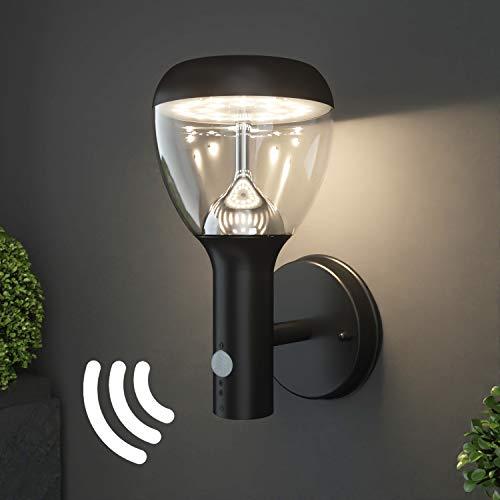 NBHANYUAN Lighting® LED Außenlampe mit Bewegungsmelder und Dämmerungsschalter Aussenwandleuchten Schwarz Edelstahl 3000K Warmweiß Licht 220-240V 1000LM 9.5W IP44(mit PIR Sensor)