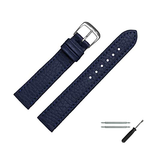 MARBURGER Uhrenarmband 20mm Leder Vegan Blau - Werkzeug Montage Set 5202051000120