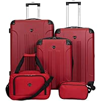 Travelers Club Sky+ 5 Piece Luggage Set (Red)
