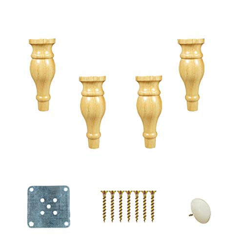 Set of 4 DIY Solid Wood Sofa Legs,Bun Feet,Eucalyptus Furniture Legs, Wood Furniture Parts Sofa Legs, for Kitchen Cabinet Sofa Bed Chair, with Hardware Parts