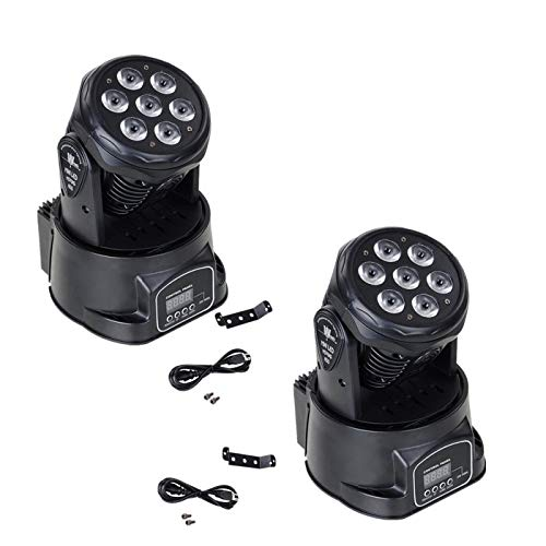 XPC DMX-512 Stage Lighting Mini Moving Head Light 7 LED 4 In 1 RGBW LED PAR Light Lighting Strobe Professional 9/14 Channels Sound Active for KTV Club Bar Party Disco (2Pack)