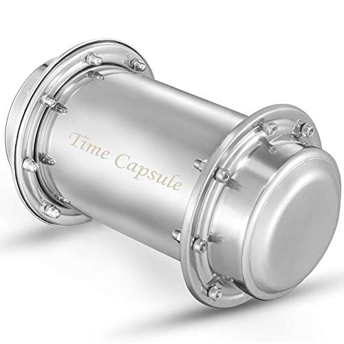 Fujia Time Capsule contenedor de Acero Inoxidable Resistente al Agua con Cerradura para Almacenamiento de Regalo Futuro de 7.3 Pulgadas