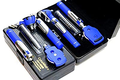 Cynamed Otoscope Set - Fiber Optic Double Handle Multi-Function Ear Scope for Ear & Eye Examination - Includes Hard Case (Blue)
