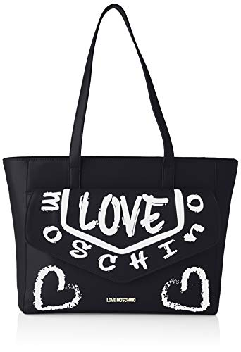 Love Moschino Damen Shopping-Tasche, Kollektion Frühling Sommer 2021, Einheitsgröße, Schwarz - Schwarz - Größe: Einheitsgröße
