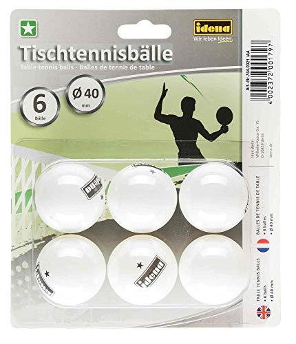 Idena 7440021 - Balles de tennis de table 6 pièces en blanc, diamètre 40 mm selon les directives de compétition de l'ITTF, qualité 1 étoile, pour club, loisirs et hobby