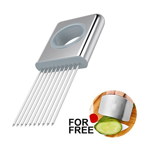 Best Utensils Onion Holder Slicer Vegetable Tools Stainless Steel Easy Onion Holder Slicing Guide Vegetable Tomato Lemon Meat Holder Slicer Tools Cutter, Cutting Kitchen Gadget, Silver