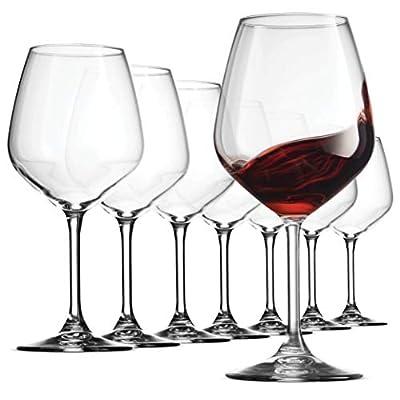 Bormioli Rocco 18oz Red Wine Glasses, Crystal Clear Star Glass, Laser Cut Rim For Wine Tasting, Lead-Free Cups, Elegant Party Drinking Glassware, Dishwasher Safe, Restaurant Quality