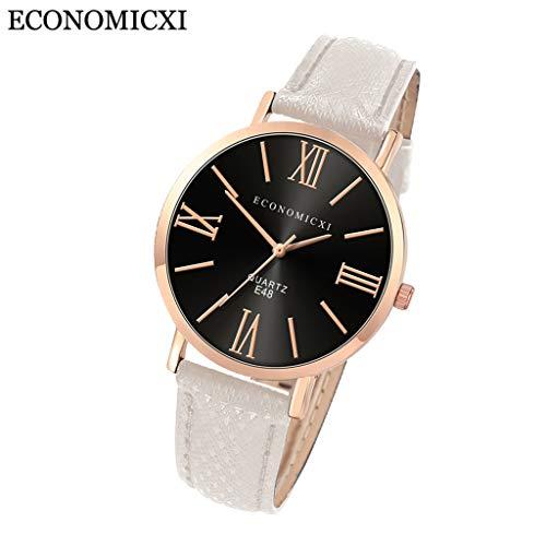 Uhr Armbanduhren Männer Damenuhren Hansee Mode Damen Lederarmband Uhren Quarz Analog Runde Armbanduhr Watch Herrenuhr(P)