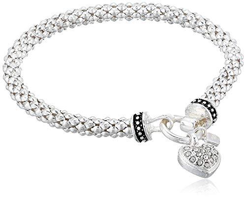 NINE WEST Women's Silvertone Crystal Pave Heart Stretch Bracelet