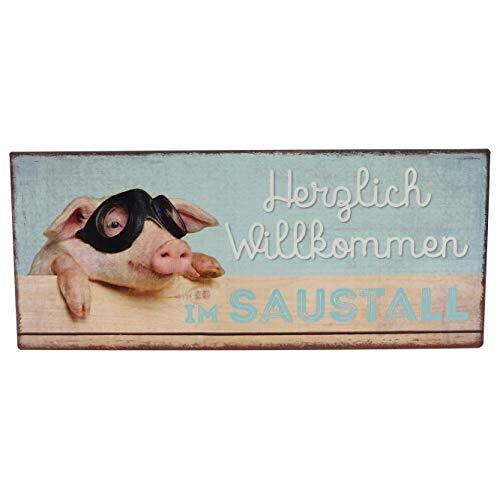 Dekohelden24 Metallschild im Vintage Look, Motiv: Herzlich Willkommen im Saustall. L/B/H: 30 x 0,4 x 13 cm