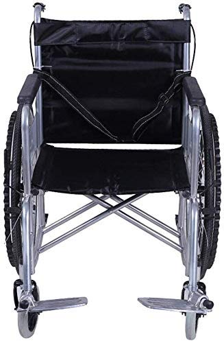 ZXY-NAN Wheelchair Steel Wheelchair-Folding Lightweight Wheelchair, Wheelchair with Light Canvas Fabric, Swivel Metal Pedals, Without Dining Table for Seniors and People in Ne Self-Propelled Wheelchai