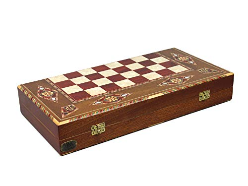Chessgammon BACKGAMMON - Juego de mesa de madera de nogal rojo con incrustaciones de madera de nogal incrustada para madres de perlas Imperial, RM17'