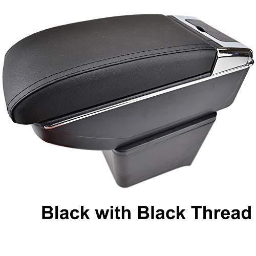 Reposabrazos de piel negra de doble capa para 2002-2009 Polo 9N 9N3 Mk4 Consola central Caja de almacenamiento reposabrazos