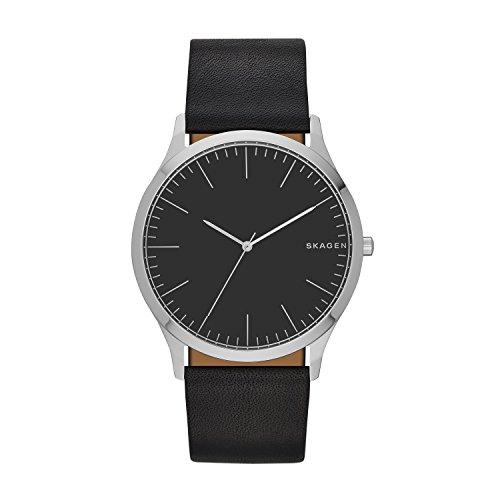 Skagen Men's Jorn Quartz Analog Stainless Steel and Leather Watch, Color: Black (Model: SKW6329)