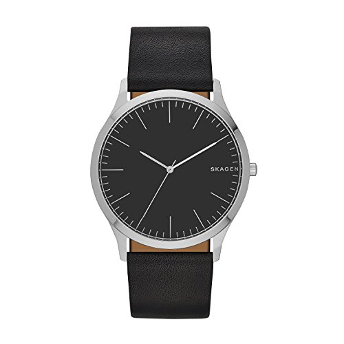 Skagen Men's Holst Quartz Stainless Steel and Leather Watch Color: Black, (Model: SKW6329)