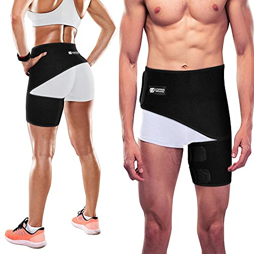 Copper Compression Groin Thigh Sleeve Hip Support Wrap. Adjustable...