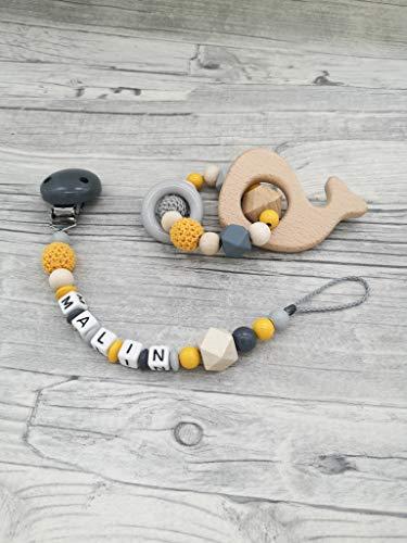 Geschenkset Wal, Schnullerkette, Beißring, Baby, personalisiert